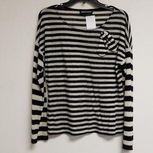 Sonia Rykiel Black/White Striped Wool Bow Top XL